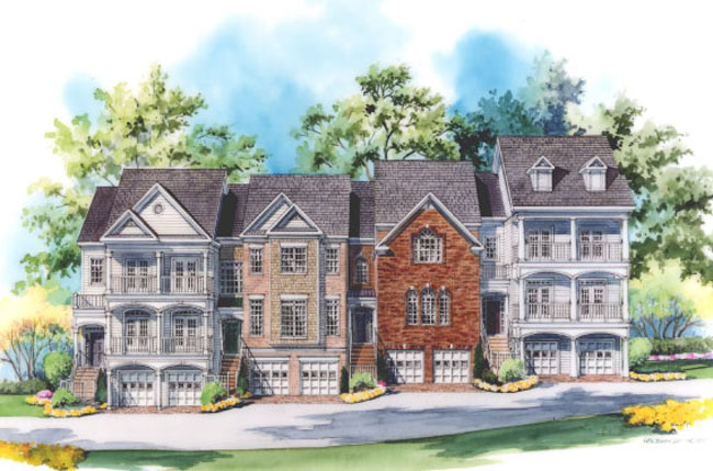 Renderings for 3 story townhomes
