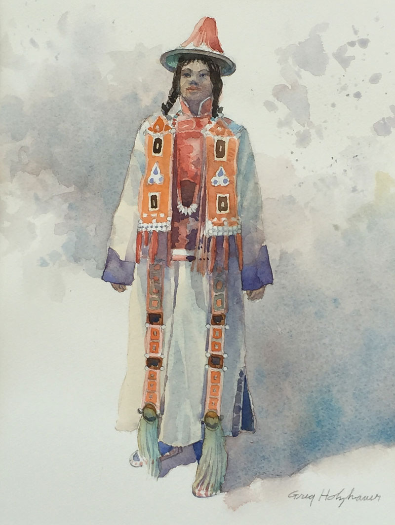 CHINESE FOLK COSTUMES #3 WATERCOLOR IMAGE 14X11 FRAMED 20X16 $550 & watercolor