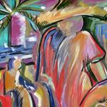MAN IN TROPICS 24X18 ACRYLIC   $425