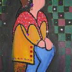 GIRL WITH RED SCARF 16X20 BEADS  SOLD
